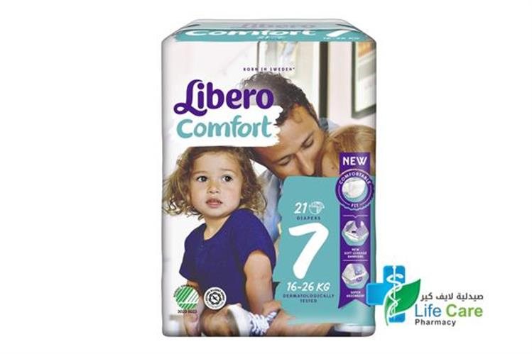 LIBERO COMFORT 7  16 TO 26 KG 21 DIAPERS - صيدلية لايف كير