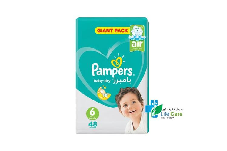 PAMPERS BABY DRY 6 48 DIAPERS 13 PLUS KG - صيدلية لايف كير