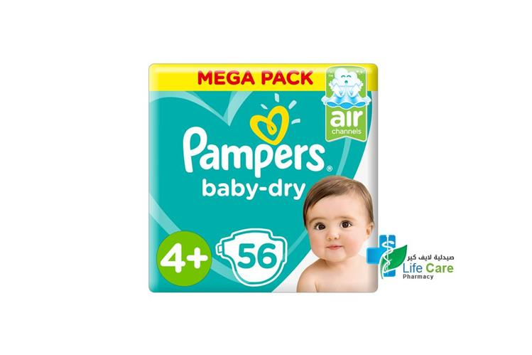PAMPERS BABY DRY 4 PLUS 56 DIAPERS 10-15 KG - صيدلية لايف كير