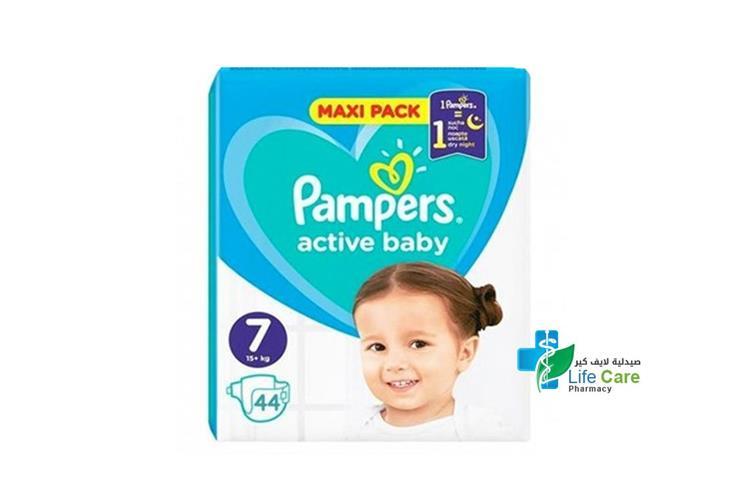 PAMPERS ACTIVE BABY 7 44 DIAPERS 15 PLUS KG - صيدلية لايف كير