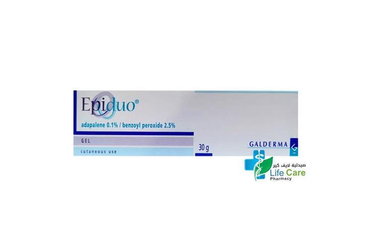 EPIDUO GEL 0.1%/ 2.5% TUBE 30 GM - صيدلية لايف كير