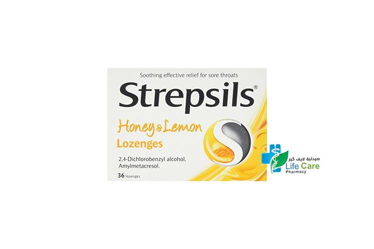 STREPSILS HONEY LEMON 36 LOZENGES - صيدلية لايف كير