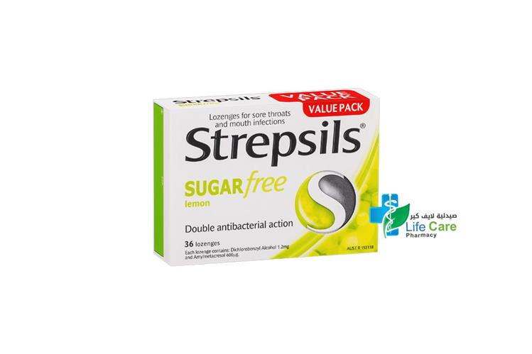 STREPSILS LEMON SUGAR FREE 36 LOZENGES - صيدلية لايف كير