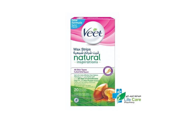 VEET WAX STRIPS NATURAL ARGAN OIL 20 WAX STRIPS - Life Care Pharmacy