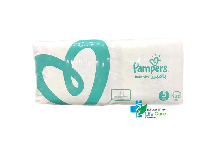 PAMPERS BABY DRY 5 11 TO 16 KG 52 DIAPERS - صيدلية لايف كير