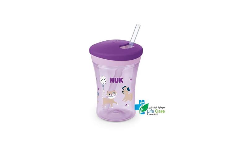 NUK EVOLUTION STRAW CUP 240 ML PLUS  12 MONTH - صيدلية لايف كير