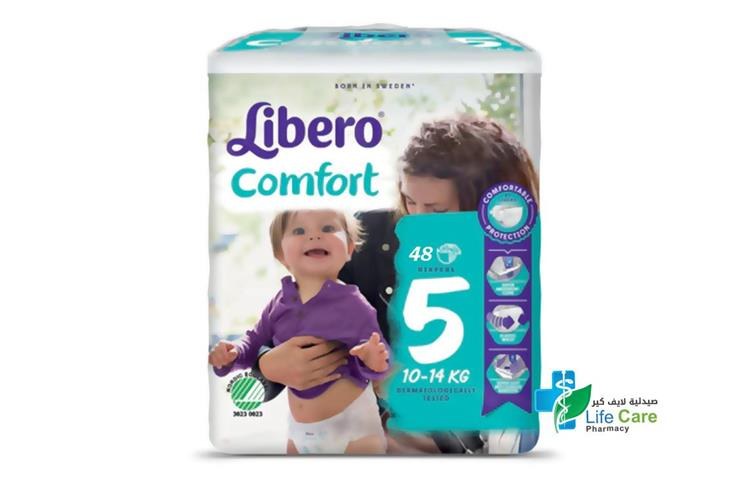 LIBERO COMFORT 5 10 TO 14 48 DIAPERS - صيدلية لايف كير