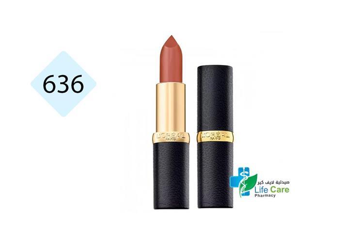 LOREAL CR MATTE LIPSTICK 636 MAHOGANY STUDS - صيدلية لايف كير