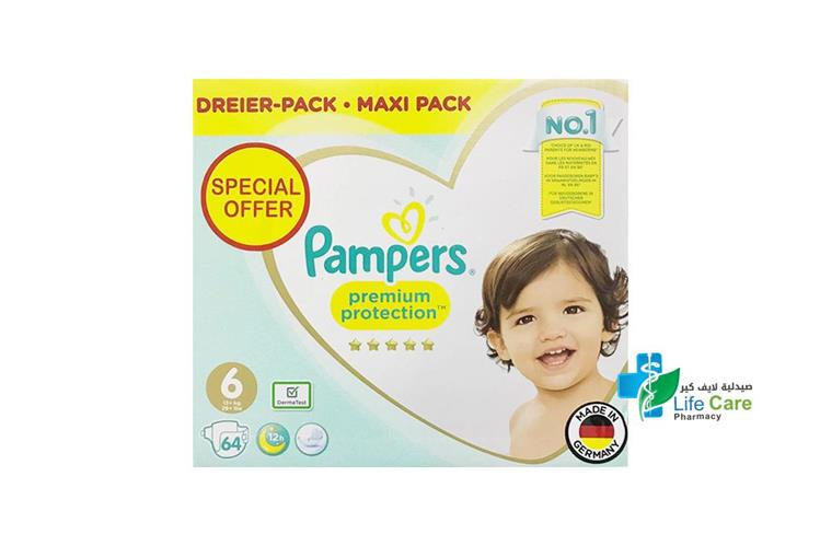 PAMPERS 6 BOX 64 DIAPERS - صيدلية لايف كير