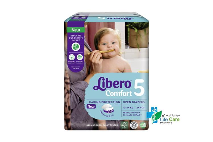 LIBERO COMFORT 5 10 TO 14 KG  24 DIAPERS - صيدلية لايف كير