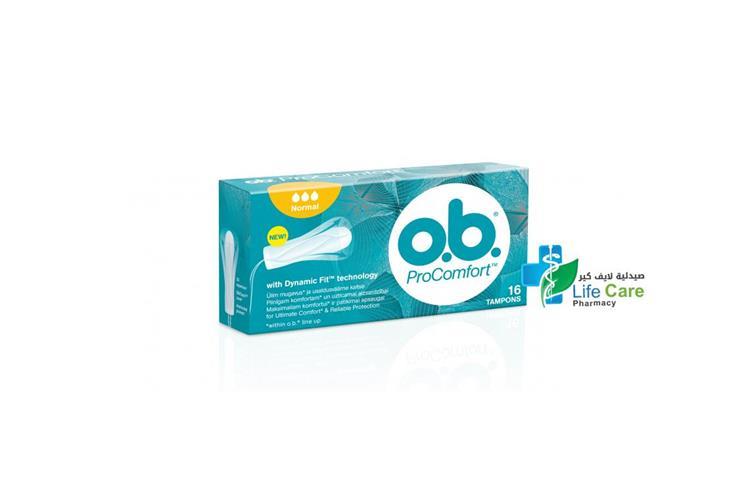 O B PROCOMFORT NORMAL 16 TAMPONS - صيدلية لايف كير