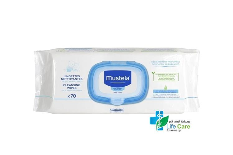 MUSTELA CLEANSING WIPS 70 PCS - صيدلية لايف كير