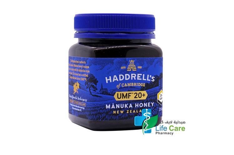 HADDRELLS MANUKA HONEY UMF PLUS 20 250 GM - Life Care Pharmacy