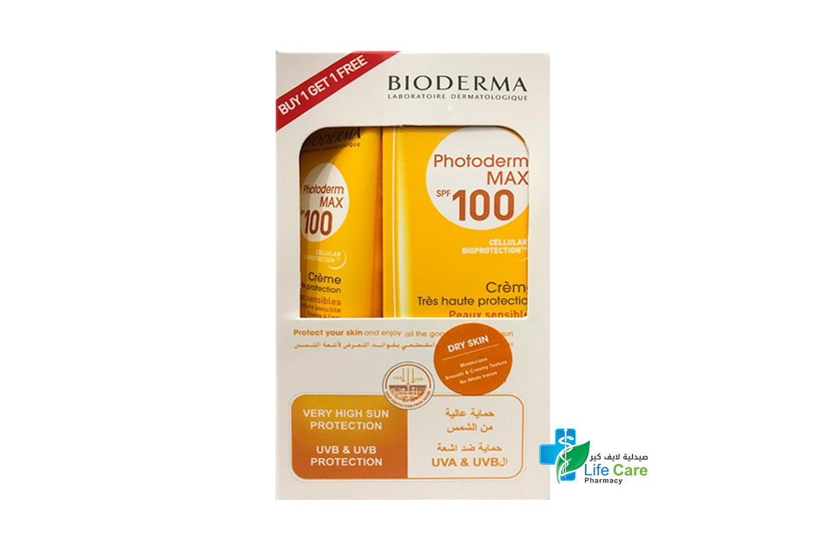 BIODERMA PHOTODERM MAX SPF100 DRY SKIN BUY 1 GET 1 FREE 40 ML - صيدلية لايف كير