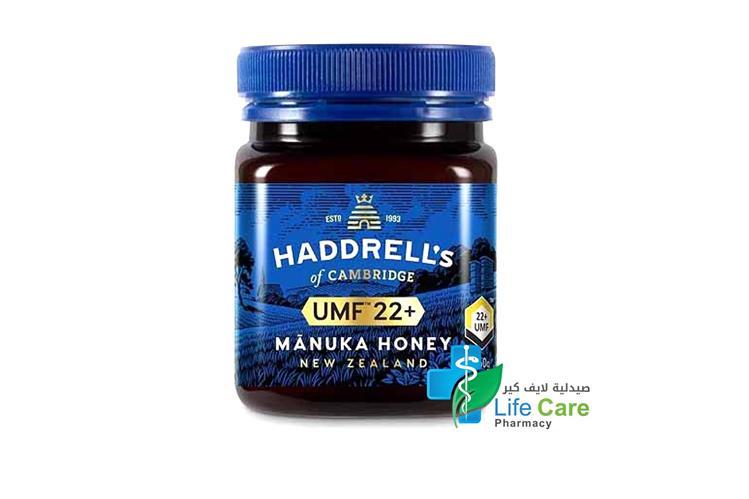HADDRELLS MANUKA HONEY UMF PLUS 22 250 GM - Life Care Pharmacy
