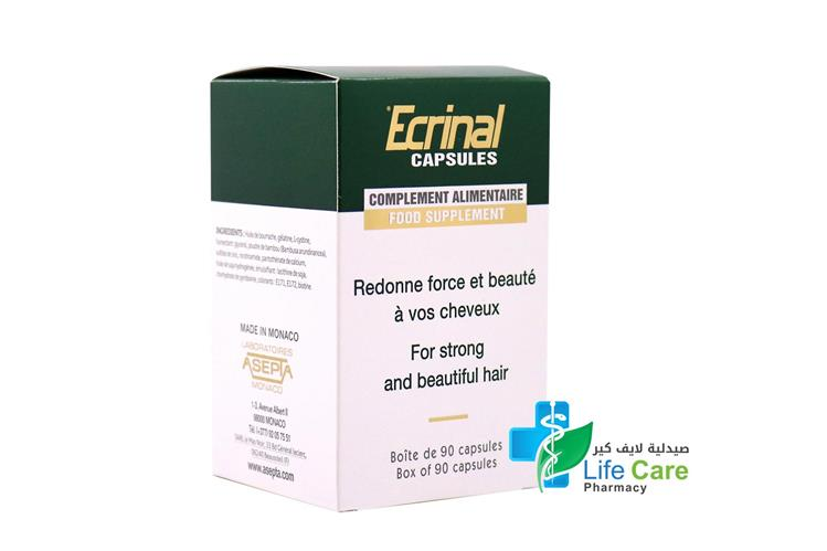 ECRINAL FOR STRONG  HAIR AND NAIL 90 CAPSULES - صيدلية لايف كير