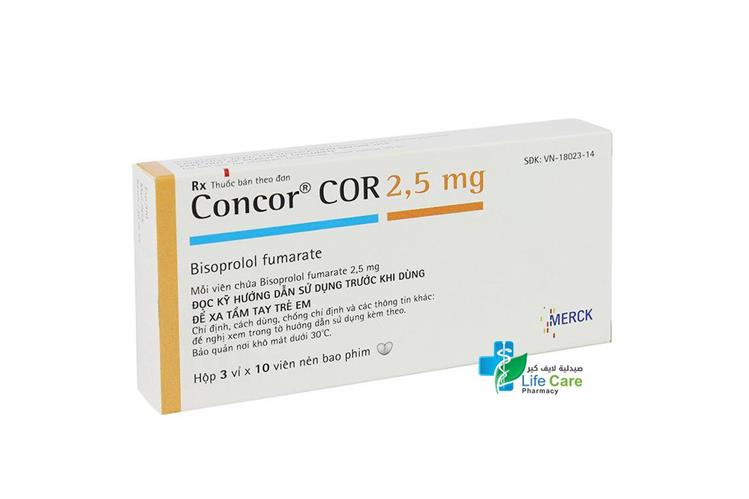 CONCOR COR 2.5 30 TABLETS - صيدلية لايف كير
